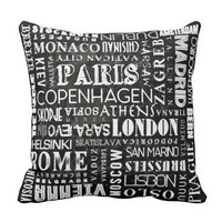 Capital Cities of Europe Typography Throw Pillow