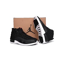 Air Jordan 12 Retro Black Nylon AJ 12 Men Basketball Shoes