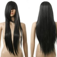 HealthTop Black Long Straight Smooth Womens Heat Resistance Cosplay Wig Anime Show & Party & Performance Hair Full Wigs