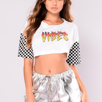Good Vibes Only Crop Top - White