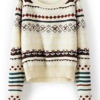 Beige Loose Tribe Long Sleeve Sweaters