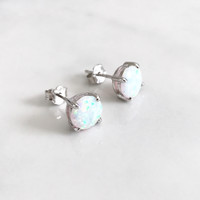 Opal sterling silver earrings