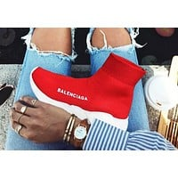 Wearwinds Balenciaga Woman Men Sneakers Fashion Breathable Kint Socks shoes Running Shoes Red(white soles))