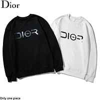 Dior hot selling fashion couple casual laser reflective print round-neck hoodie