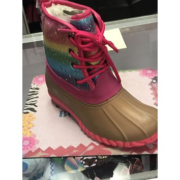 Fall RAINBOW GLITTER LACE UP TONE TONE KIDS DUCK BOOTS