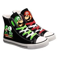 Cute Super Mario Printed Sneakers Women Men Canvas Shoes Cartoon Casual Shoes Teenagers Boys and Girls Sports Shoes Black Color