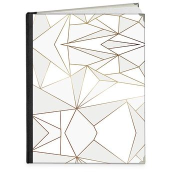 """Abstract White Polygon with Gold Line Photo Book 8.3"""" x 11.8"""" - Portrait by The Photo Access"""