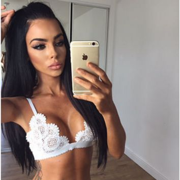 Interest is hollow-out lace strapless lingerie White