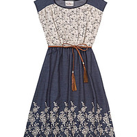 Rare Editions 7-16 Lace/Floral-Embroidered Dress - Navy/White