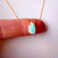 Natural Micro Ethiopial Welo Fire Opal Floating Stone Pendant & 14k Gold Fill Chain Necklace; Rough opal charm; Unique Gift for Her or Mom