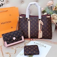 Onewel Louis Vuitton Bag LV Big Shoulder Bag Handbag Square Bag Shoulder Bag Wallet Three Piece Suit Coffee Monogram Pink