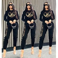 LV Louis Vuitton Fashion Women Casual Sweater Top Pants Trousers Set Two-Piece Sportswear Black