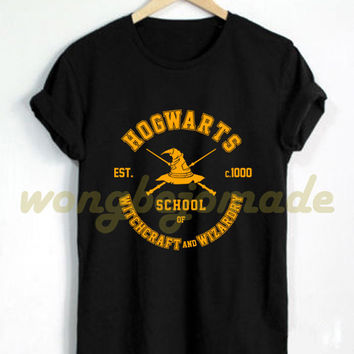 Hogwarts Alumni Shirt Hogwarts School of Witchcraft and Wizardry Tshirt Harry Potter Black Grey and Navy Color Unisex T-Shirt