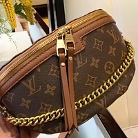 LV simple classic old-fashioned canvas chest bag waist bag shoulder bag
