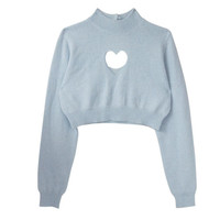Heart It Cropped Sweater in Blue