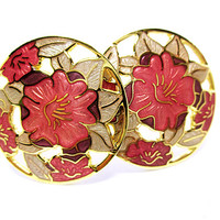 VINTAGE EARRINGS Gorgeous Pink Lilies Gold Leaf Round Cutout Earrings Clip On Earrings Beautiful Pink Flowers Gold Leaves Gift For Her