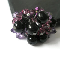 Ring Adjustable Jewelry Beaded cluster ring Purple Lilac lavender Glass beads black pearls and facted beads statement jewelry cocktail ring