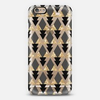 Glitter Geometric Triangles in gold and black - Phone Crystal Clear Case iPhone 6 case by Nika Martinez | Casetify