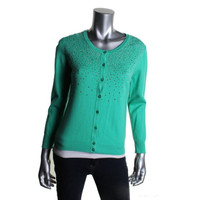 Top Knits Womens Ribbed Trim V-Neck Cardigan Sweater