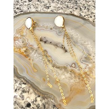 Mother of Pearl studs with Long chain dangle