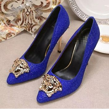 Versace Summer Women Stylish Pure Color Water Drill Leather Stiletto Heel Pointed High Heels Blue I13174-81