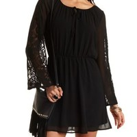 Skater Dress with Lace Sleeves by Charlotte Russe