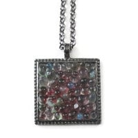 Rose and Green Pendant necklace with clear glass pebbles, hand made modern jewelry with gunmetal finish