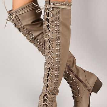 Breckelle Alabama-13 Studded Spike Military Lace Up Boot