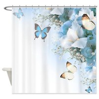 Blue Irises And Butterflies Shower Curtain> Decorator Shower Curtains> MORE PRODUCTS-CLICK HERE-GetYerGoat.com