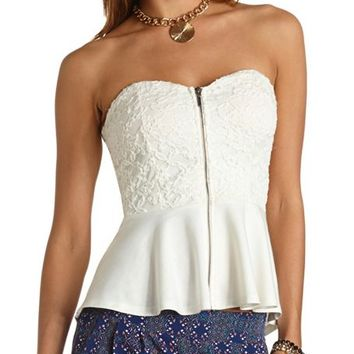 ZIP-FRONT STRAPLESS LACE PEPLUM TOP