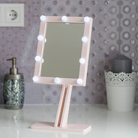 ROSEGOLD Makeup mirror with lights Hollywood lighted Vanity mirror Wood Mirror Bathroom Mirror Mirror with lights Vanity mirror with lights