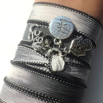 Hamsa Om Tree of Life Silk Wrap Bracelet Yoga Jewelry Good Luck Protection Evil Eye Anklet Necklace Earthy Unique Gift Under 50 Item S67