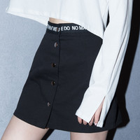 Lettering-Detailed Waist Snap-Front Skirt | mixxmix