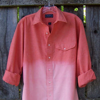 Orange chambray ombre grunge shirt button down dip dye long sleeve oversized hand bleached UNISEX