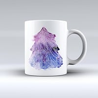 The Stenciled Watercolor Evergreen Tree ink-Fuzed Ceramic Coffee Mug