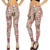 Grey/Coral Paisley Floral Print Cotton Blend Leggings in M/L and XL/2X