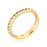 Stylish Stackables Clear Crystal Gold Ring, size : 05