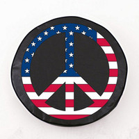Holland Bar Stool USA Peace Sign Tire Cover in Black