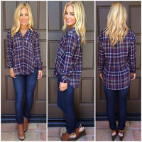 Donna Plaid Top - NAVY