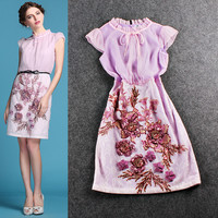 Pink Mesh Net Ruched Tie Flower Embroidered  Mini Dress