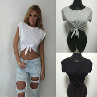 Summer Top Knotted Tie Front Crop Tops Cropped T Shirt Women Tops Women's T Shirt