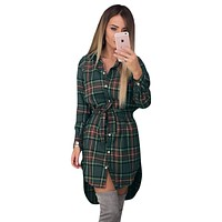 Fashion Women Blouses Long Sleeve Plaid Shirts Turn Down Collar Shirt Casual Ladies Tops Tunic Feminine Irregular Blouses LJ5932