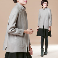 Loose Long Sleeve High-necked Top