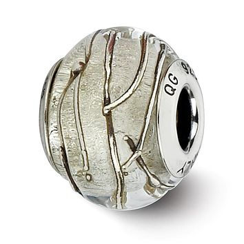 Clear, Silver Striped Italian Murano Bead Sterling Silver Charm, 13mm