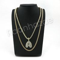 "A INITIAL BUBBLE PENDANT W/ 24"" MIAMI CUBAN /18"" TENNIS CHAIN NECKLACE"