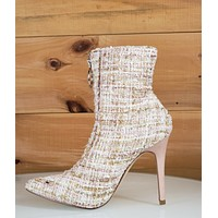 CR Kitana 44 Tweed Front Zipper Pointy Toe Ankle Boot Beige & Gold