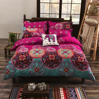 National Style Recto Prune Reversible Duvet Cover Bed Sheet with Pillow Sham Boho Mandala Bedding Set Twin Full Queen King Size