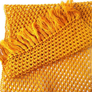 Vintage Crochet Cotton Cloth - Dark Yellow / Orange
