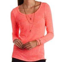 Neon Zipper-Back Sweater Knit Tunic Top - Neon Coral