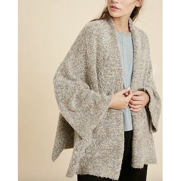Fuzzy Open Front Kimono Knit Cardigan in Taupe Combo